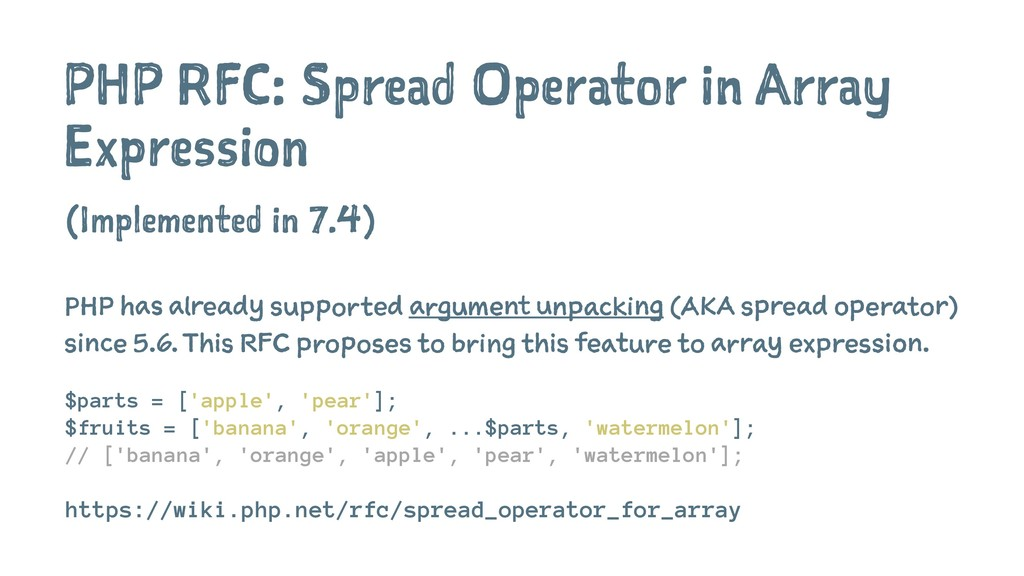 PHP RFC: Spread Operator in Array Expression (I...