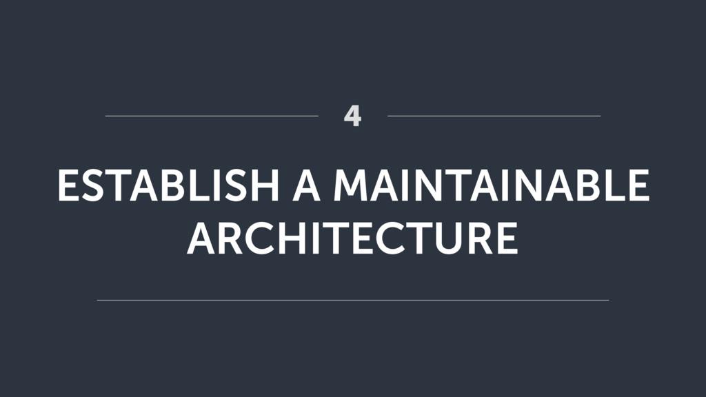 ESTABLISH A MAINTAINABLE ARCHITECTURE 4