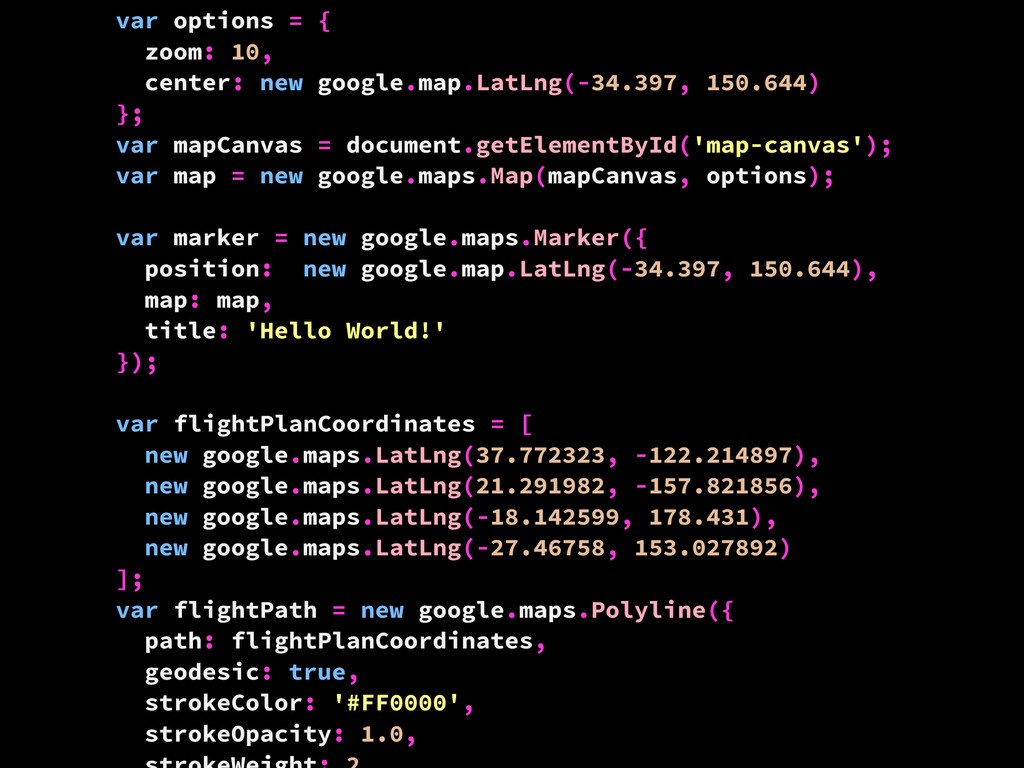 var options = { zoom: 10, center: new google.ma...