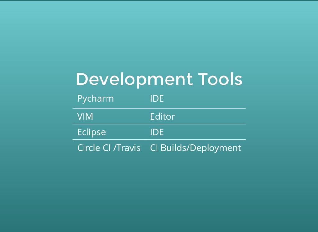 Development Tools Development Tools Pycharm IDE...
