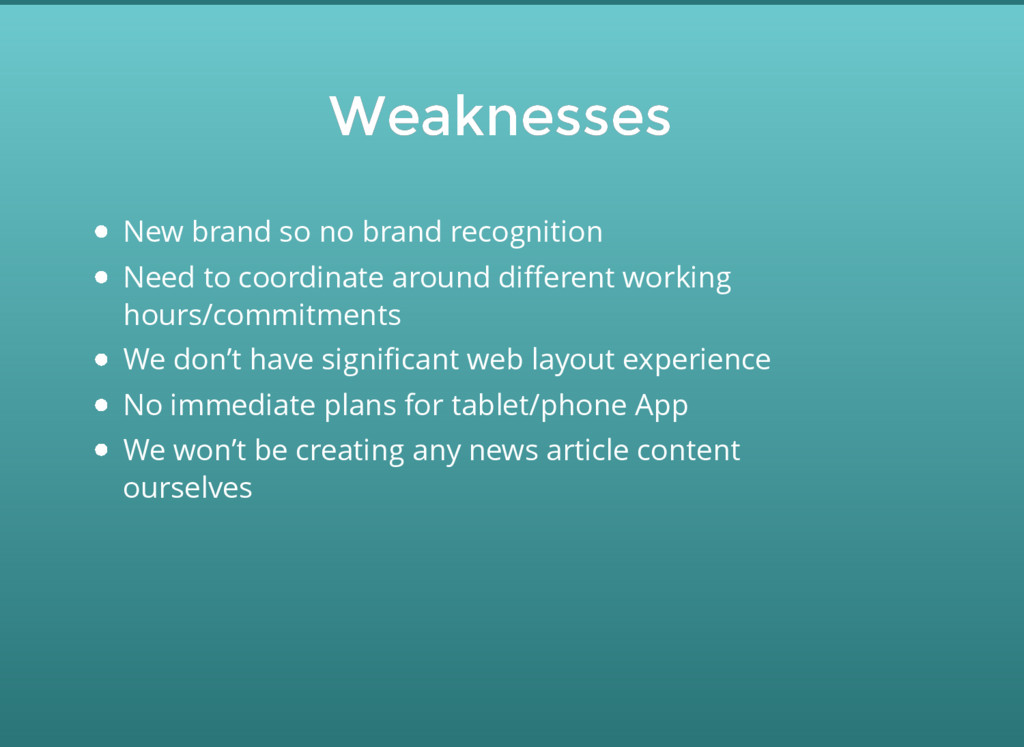 Weaknesses Weaknesses New brand so no brand rec...