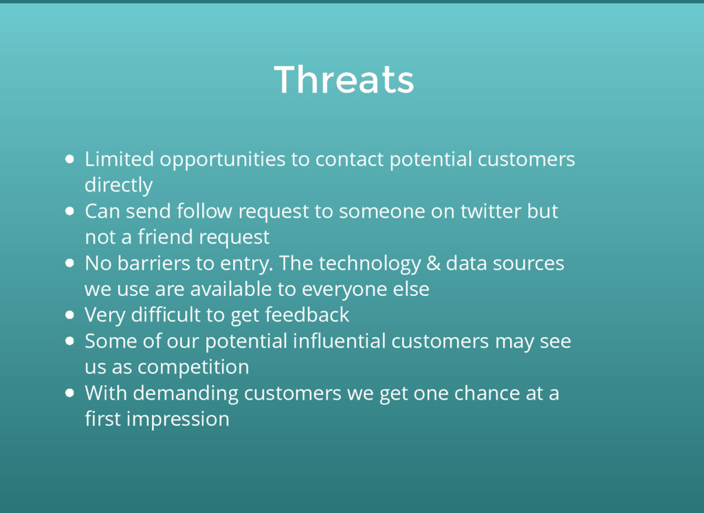 Threats Threats Limited opportunities to contac...