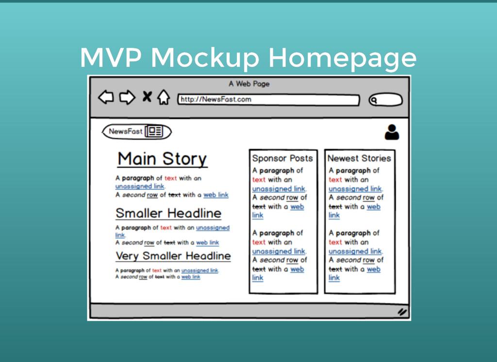 MVP Mockup Homepage MVP Mockup Homepage