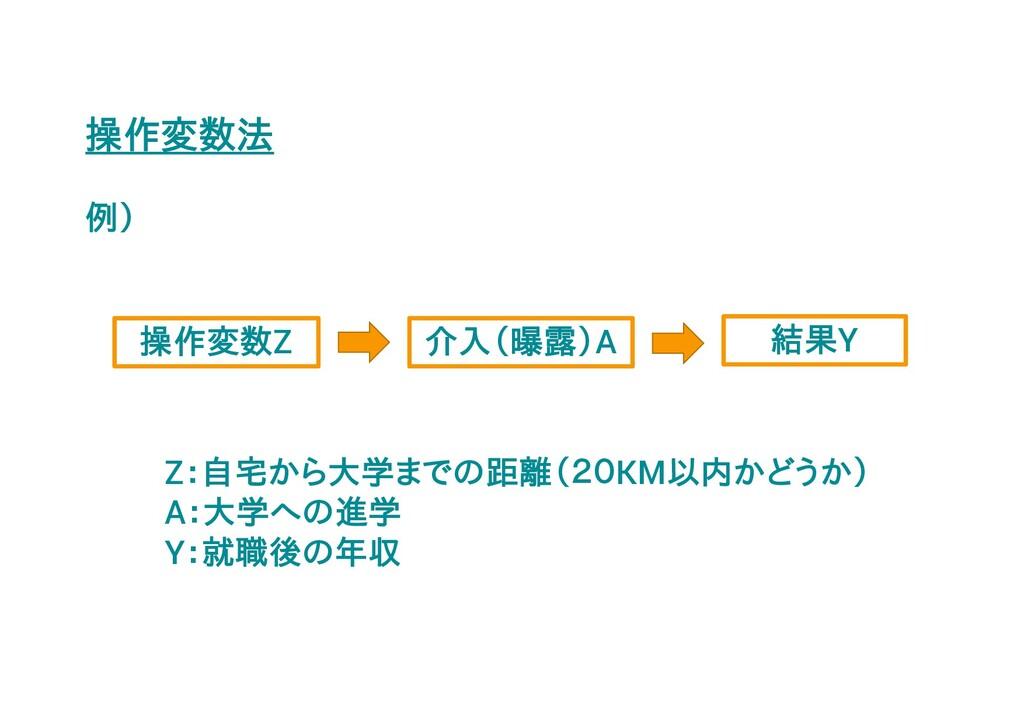 操作変数法 例) 操作変数Z Z:自宅から大学までの距離(20KM以内かどうか) A:大学への...