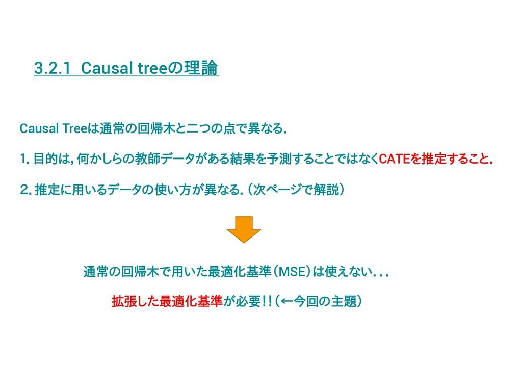 3.2.1 Causal treeの理論 Causal Treeは通常の回帰木と二つの点で異な...