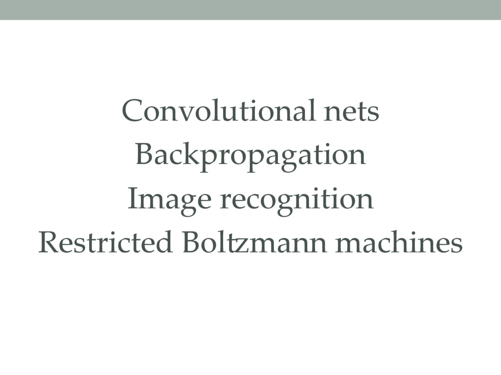 Convolutional nets Backpropagation Image recogn...