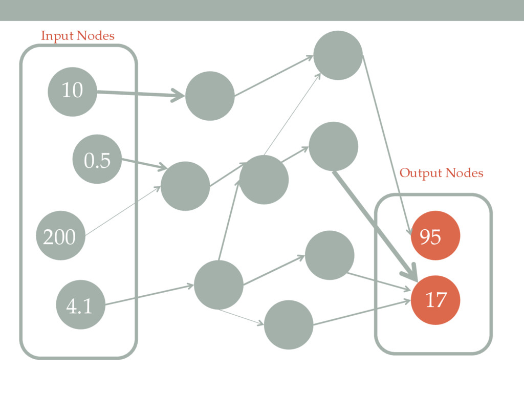 Input Nodes Output Nodes 10 0.5 200 4.1 95 17