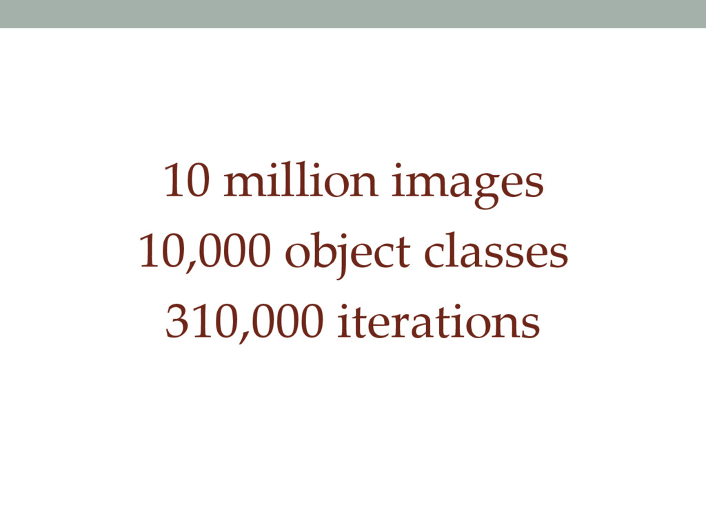 10 million images 10,000 object classes 310,000...