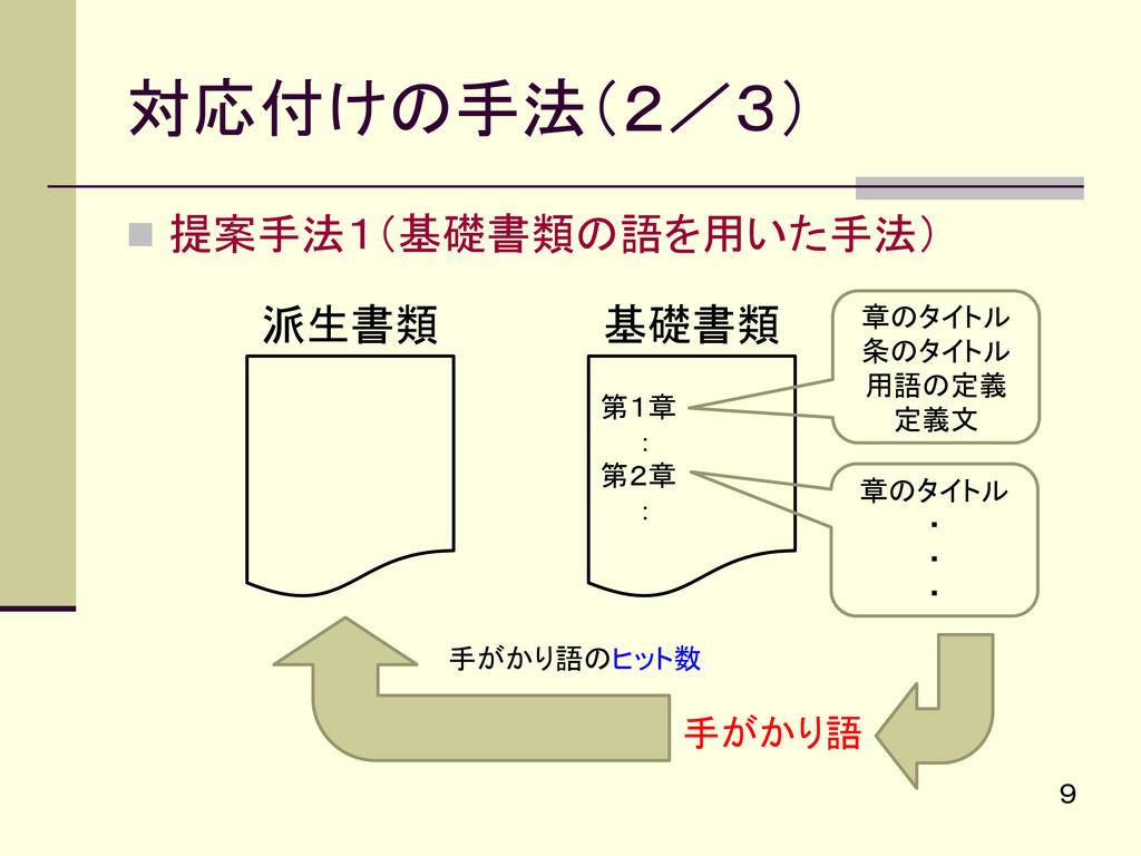 提案手法1(基礎書類の語を用いた手法) 対応付けの手法(2/3) 9 派生書類 基礎書類 ...