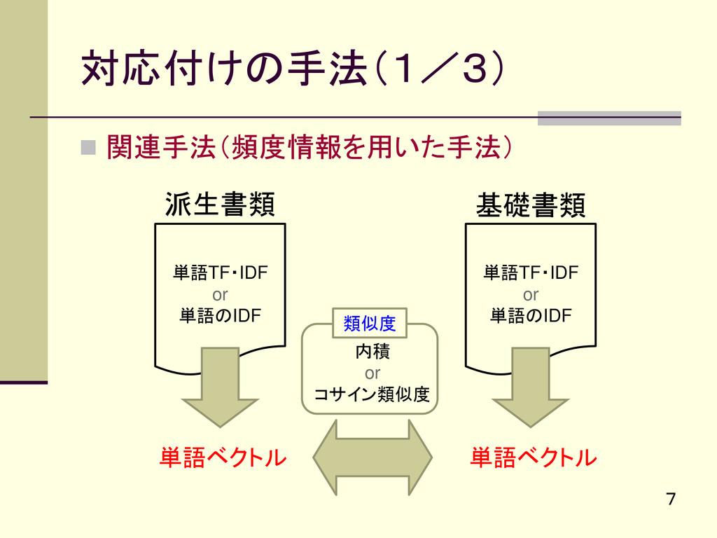 対応付けの手法(1/3)  関連手法(頻度情報を用いた手法) 7 派生書類 基礎書類 単語T...