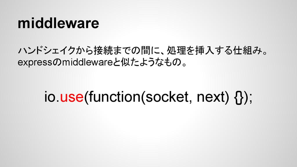 middleware ハンドシェイクから接続までの間に、処理を挿入する仕組み。 express...