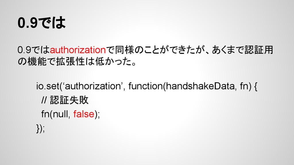 0.9では 0.9ではauthorizationで同様のことができたが、あくまで認証用 の機能...