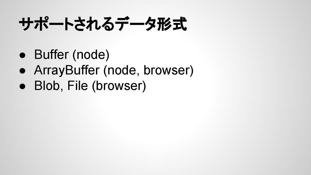サポートされるデータ形式 ● Buffer (node) ● ArrayBuffer (nod...