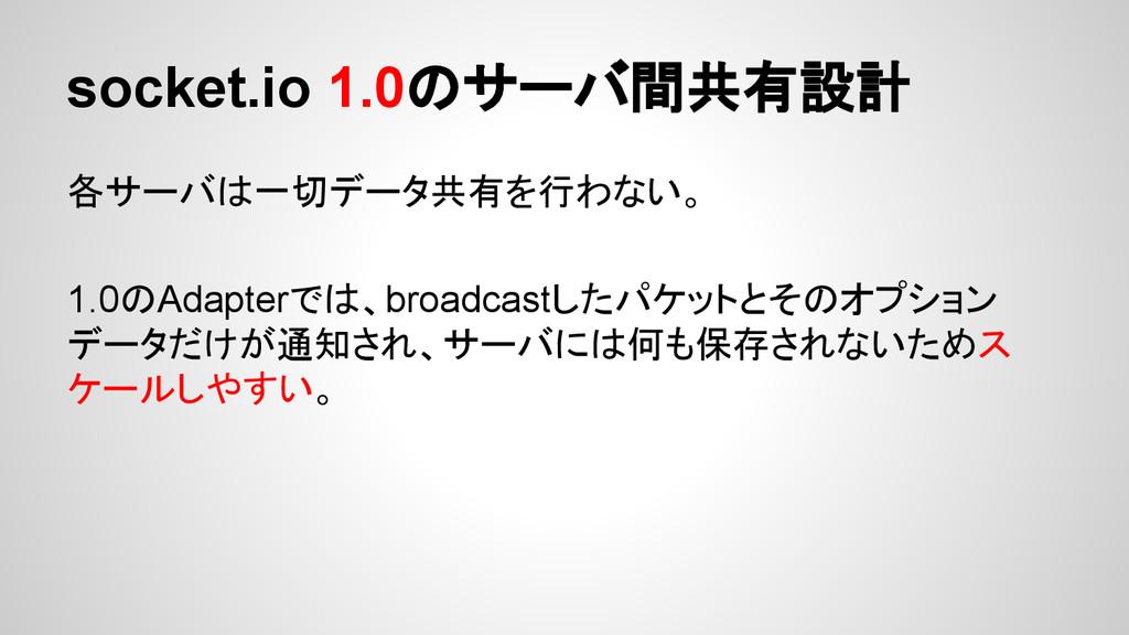 socket.io 1.0のサーバ間共有設計 各サーバは一切データ共有を行わない。 1.0のA...