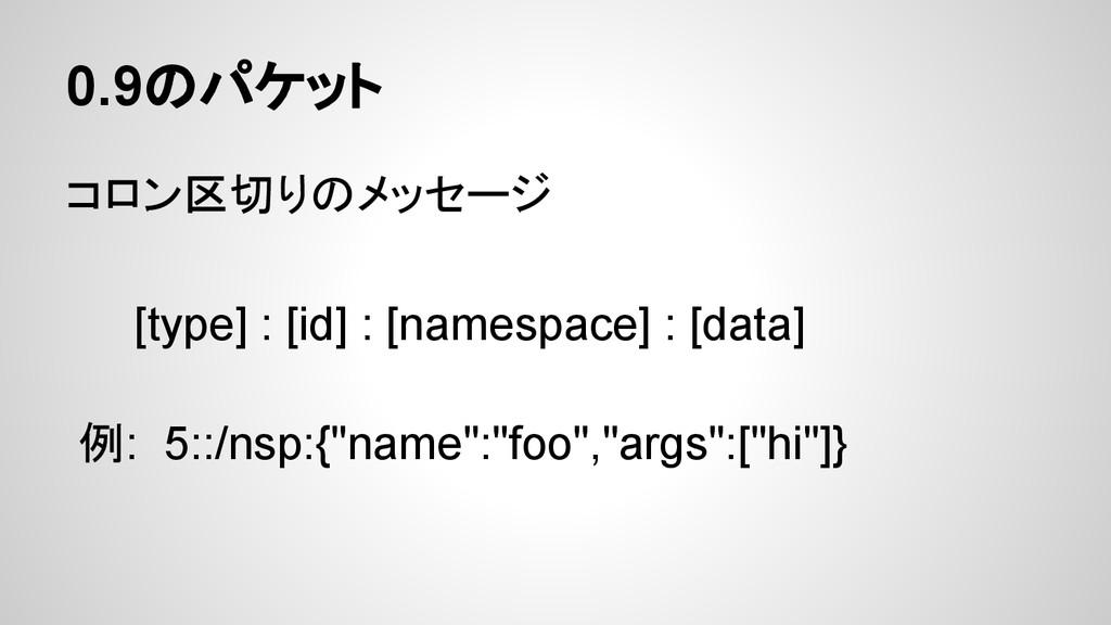 0.9のパケット コロン区切りのメッセージ [type] : [id] : [namespac...