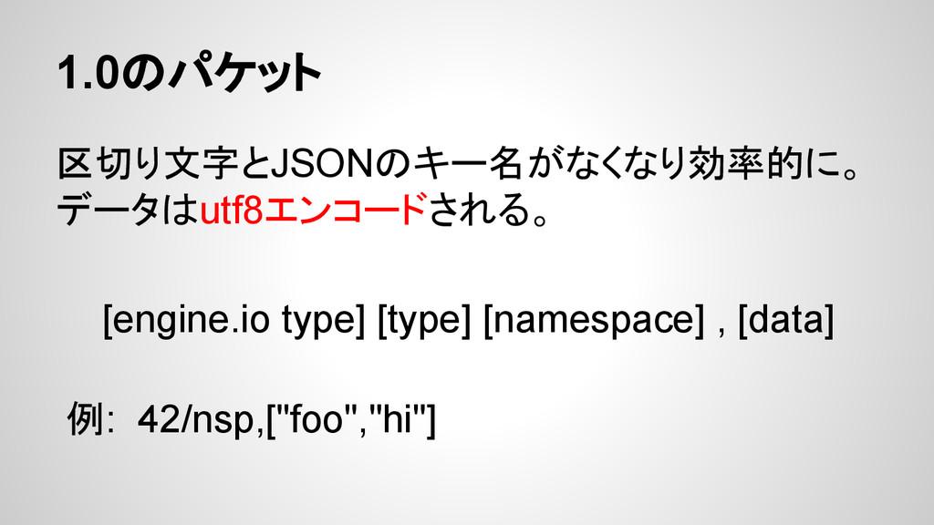 1.0のパケット 区切り文字とJSONのキー名がなくなり効率的に。 データはutf8エンコード...