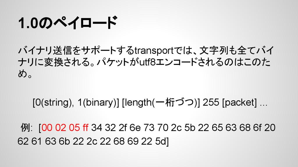 1.0のペイロード バイナリ送信をサポートするtransportでは、文字列も全てバイ ナリに...