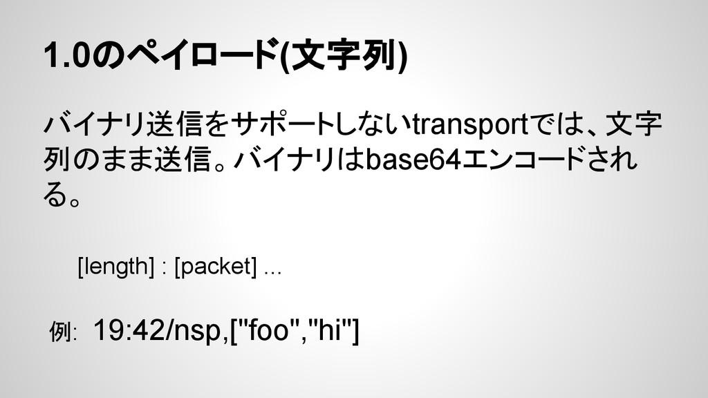 1.0のペイロード(文字列) バイナリ送信をサポートしないtransportでは、文字 列のま...
