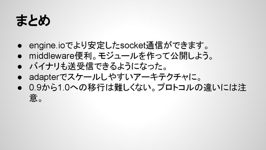 まとめ ● engine.ioでより安定したsocket通信ができます。 ● middlewa...