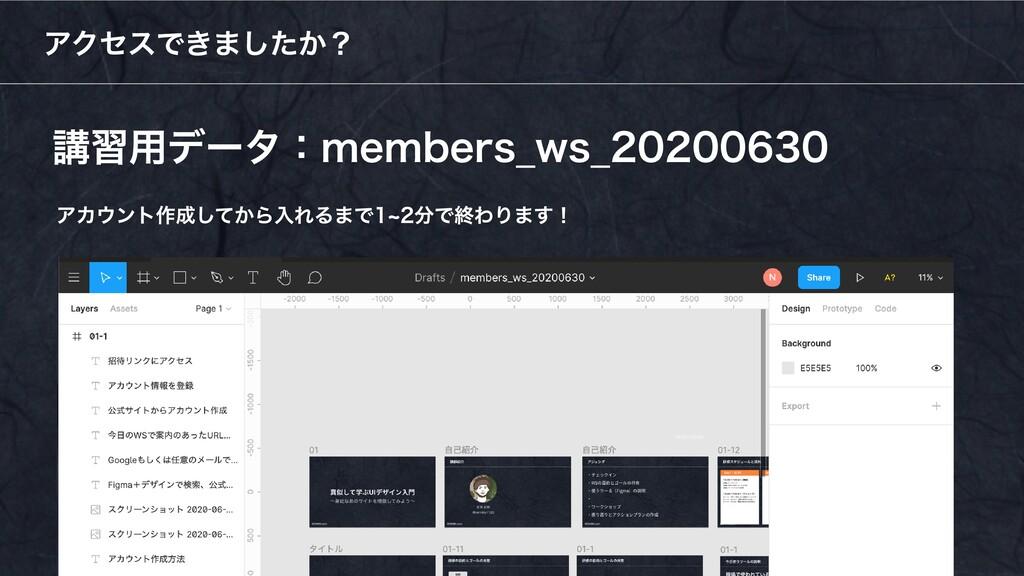 講習用データ:members_ws_20200630 アクセスできましたか? アカウント作成し...