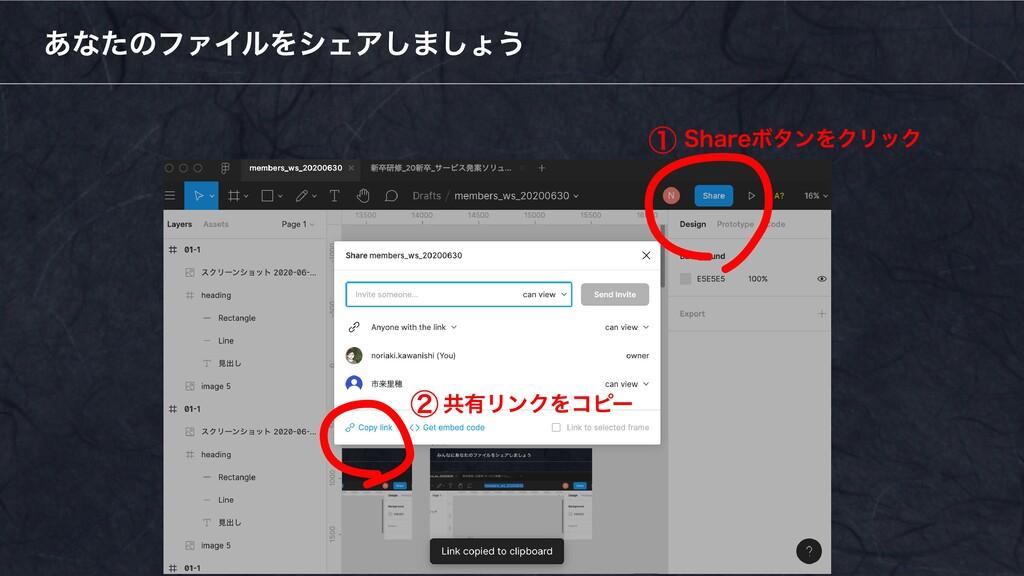 あなたのファイルをシェアしましょう ① ②共有リンクをコピー Shareボタンをクリック