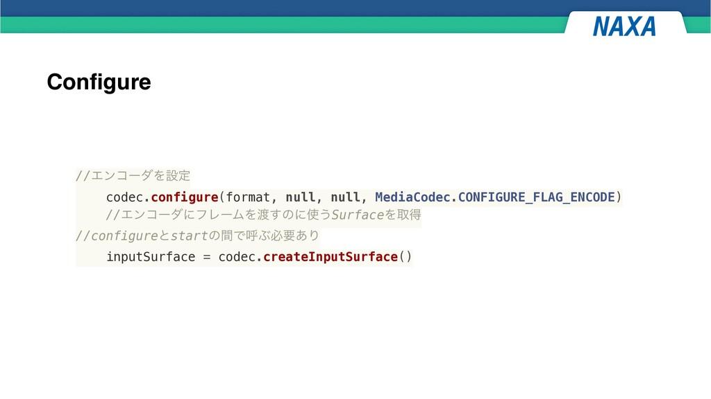 Configure //ΤϯίʔμΛઃఆ   codec.configure(format, ...