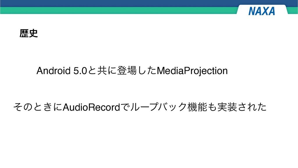 ྺ Android 5.0ͱڞʹొͨ͠MediaProjection ͦͷͱ͖ʹAudio...