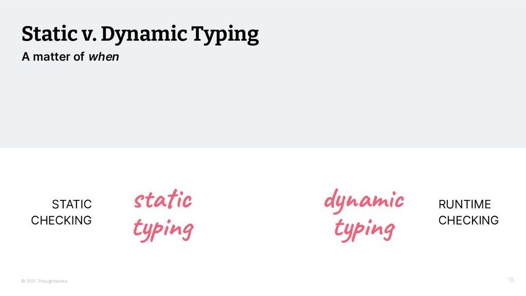 © 2021 Thoughtworks Static v. Dynamic Typing RU...
