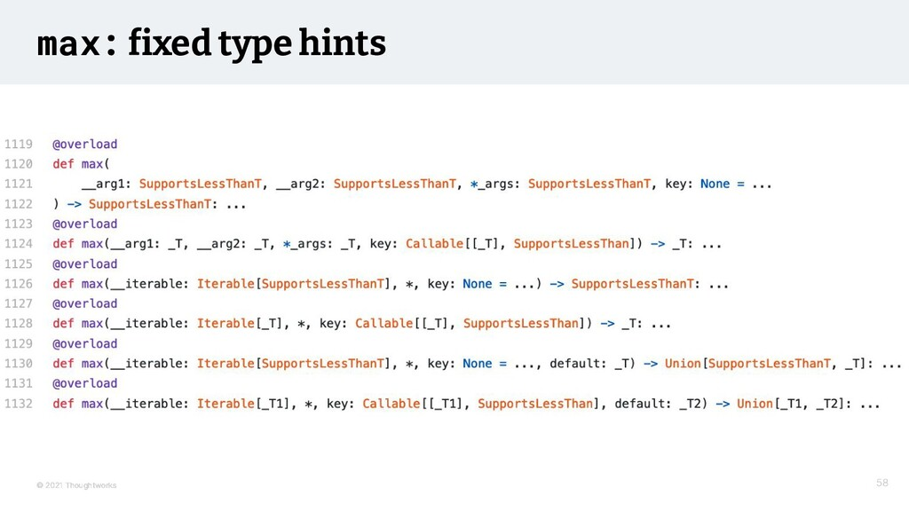 © 2021 Thoughtworks max: fixed type hints 58 58...