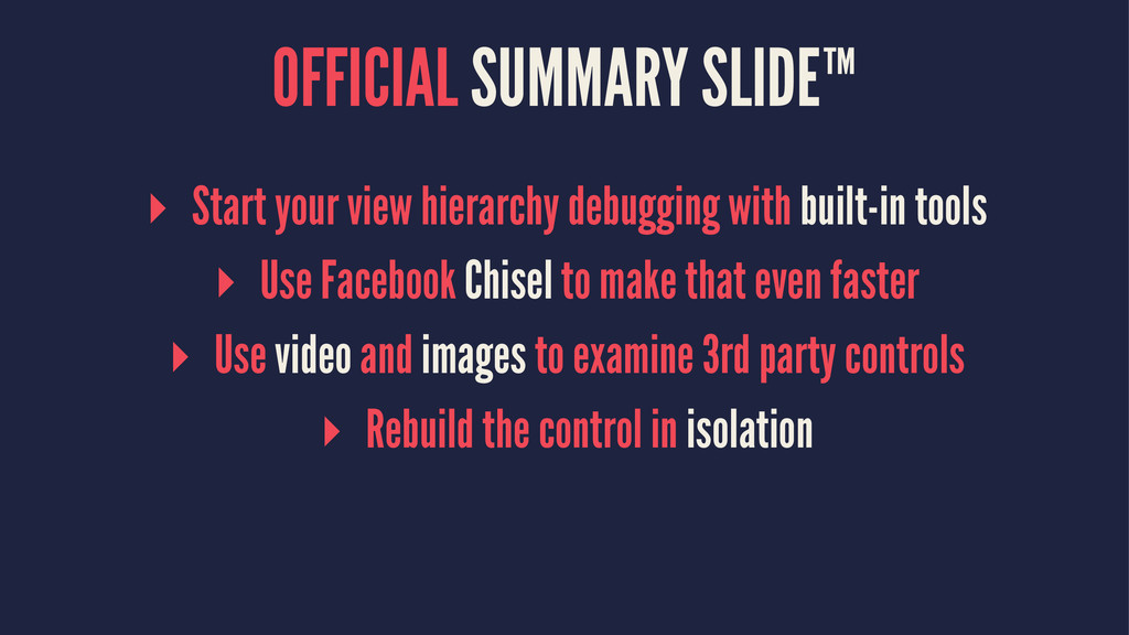 OFFICIAL SUMMARY SLIDE™ ▸ Start your view hiera...