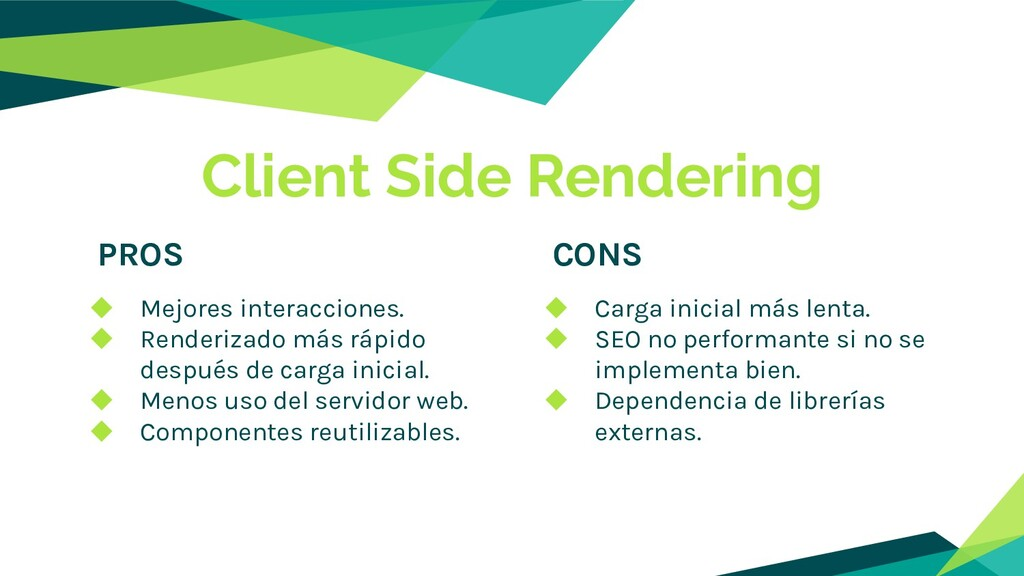 Client Side Rendering PROS CONS ◆ Mejores inter...