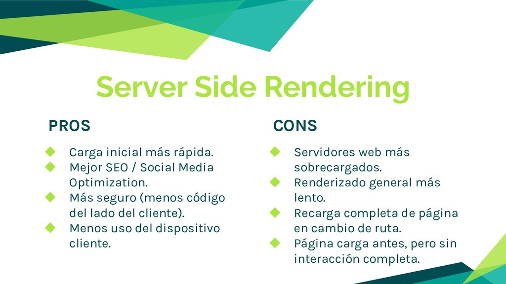 Server Side Rendering PROS CONS ◆ Carga inicial...