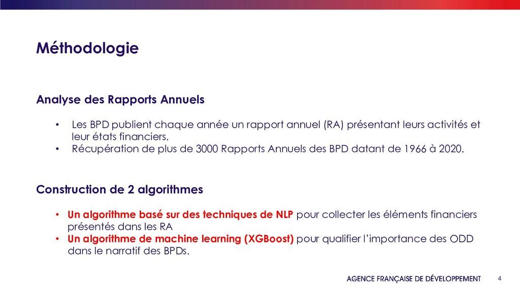 4 Méthodologie Analyse des Rapports Annuels • L...