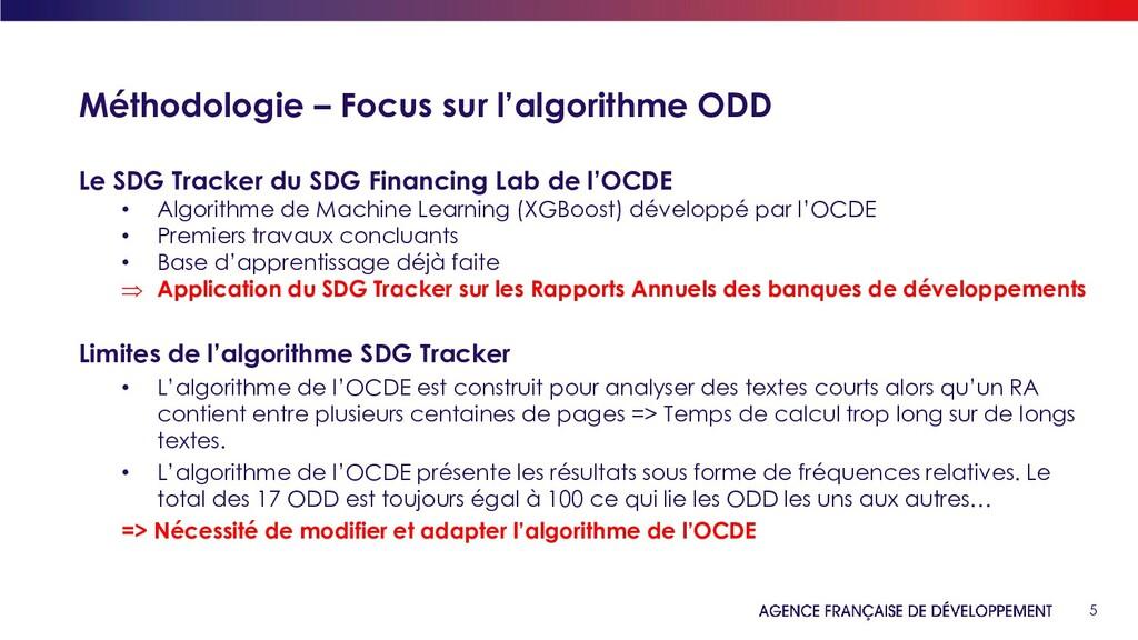 5 Méthodologie – Focus sur l'algorithme ODD Le ...