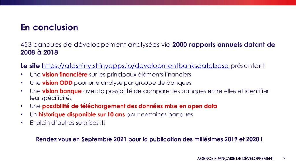 9 En conclusion 453 banques de développement an...