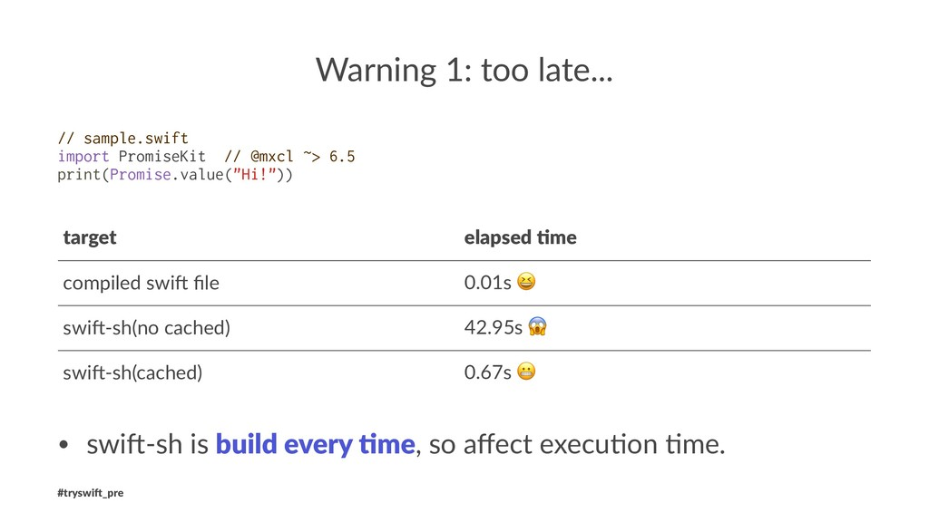 Warning 1: too late... // sample.swift import P...