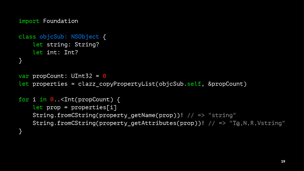 import Foundation class objcSub: NSObject { let...