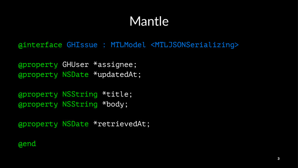 Mantle @interface GHIssue : MTLModel <MTLJSONSe...