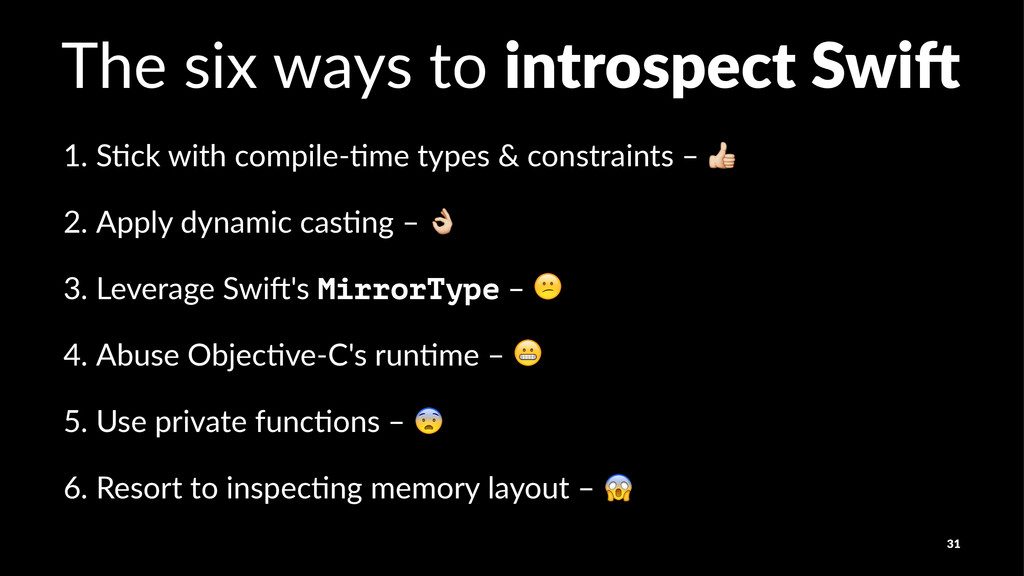 The$six$ways$to$introspect*Swi- 1. S$ck'with'co...