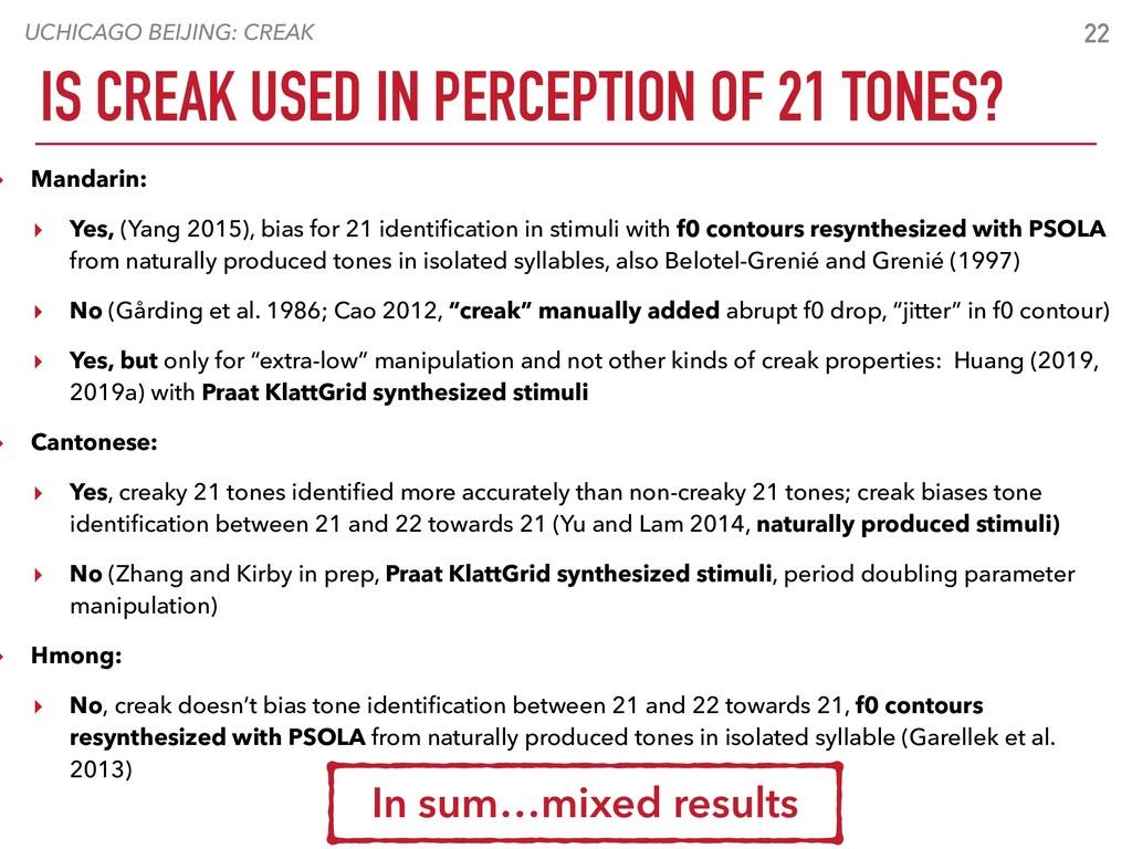 UCHICAGO BEIJING: CREAK 22 IS CREAK USED IN PER...