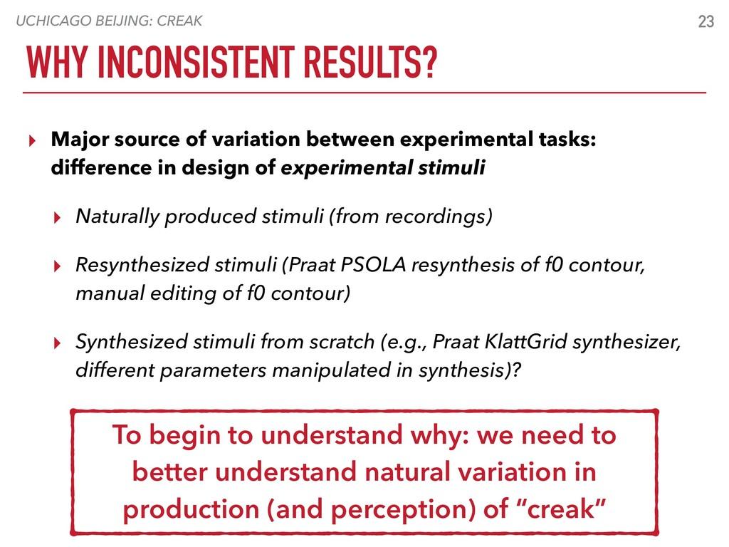 UCHICAGO BEIJING: CREAK 23 WHY INCONSISTENT RES...
