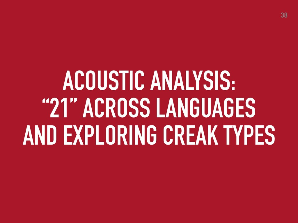 """ACOUSTIC ANALYSIS: """"21"""" ACROSS LANGUAGES AND EX..."""