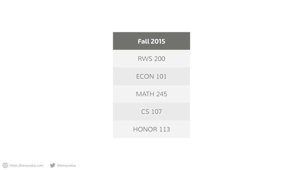 https://tompaulus.com @tompaulus Fall 2015 RWS ...