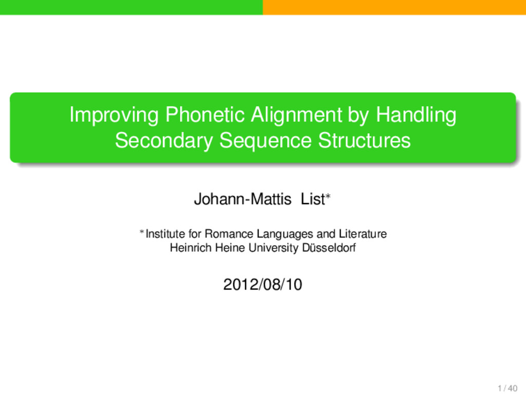 . . . . . . . Improving Phonetic Alignment by H...