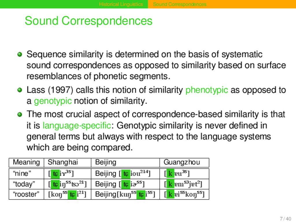Historical Linguistics Sound Correspondences So...