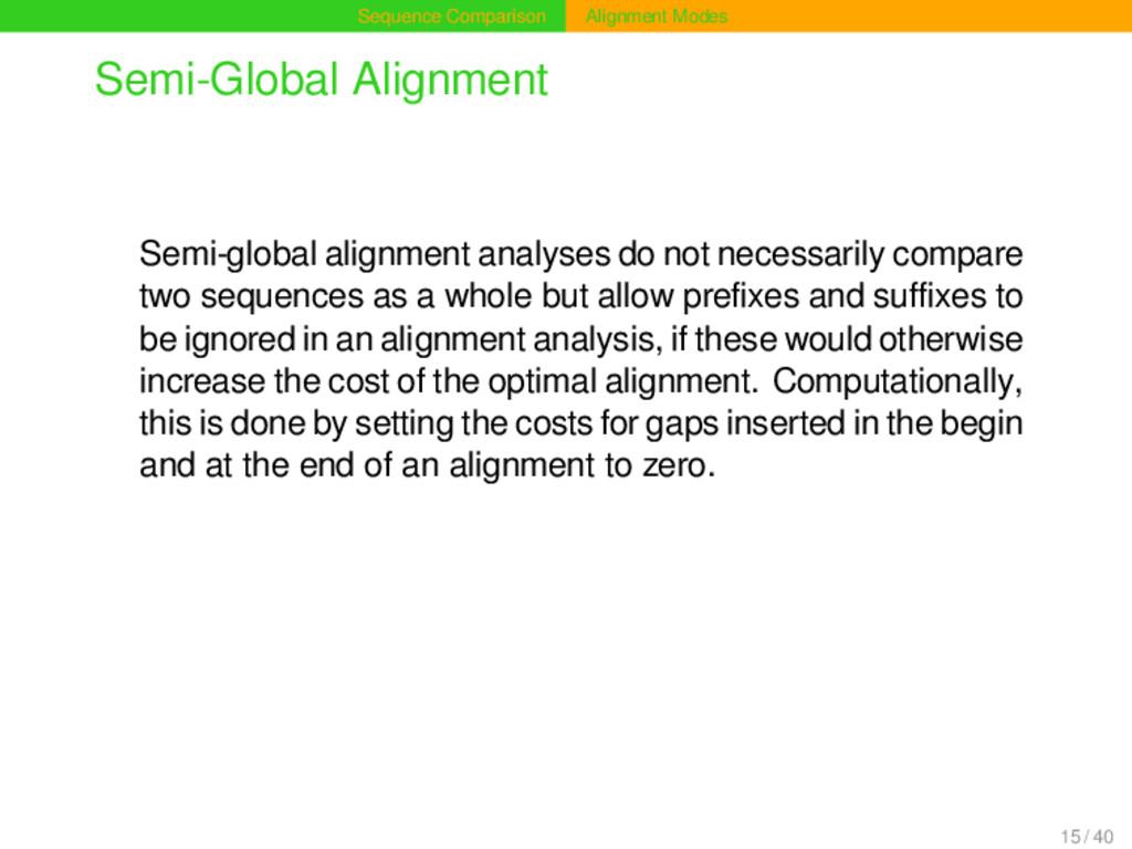 Sequence Comparison Alignment Modes Semi-Global...