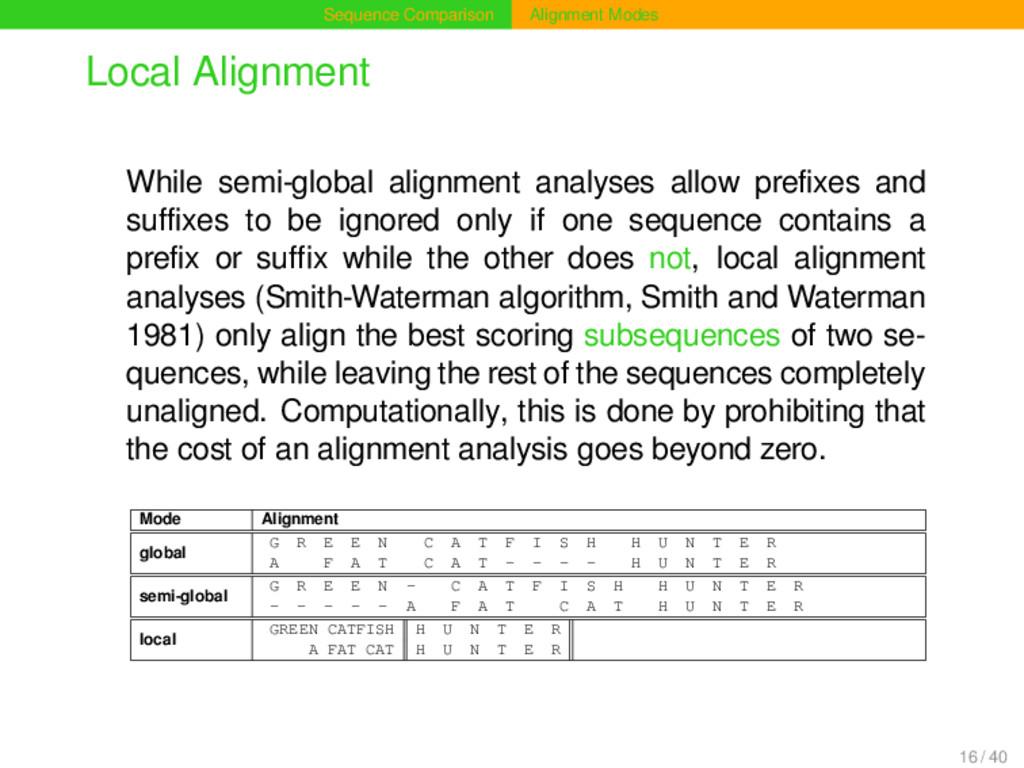 Sequence Comparison Alignment Modes Local Align...