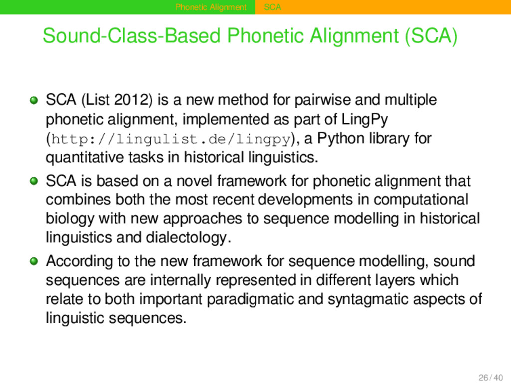 Phonetic Alignment SCA Sound-Class-Based Phonet...