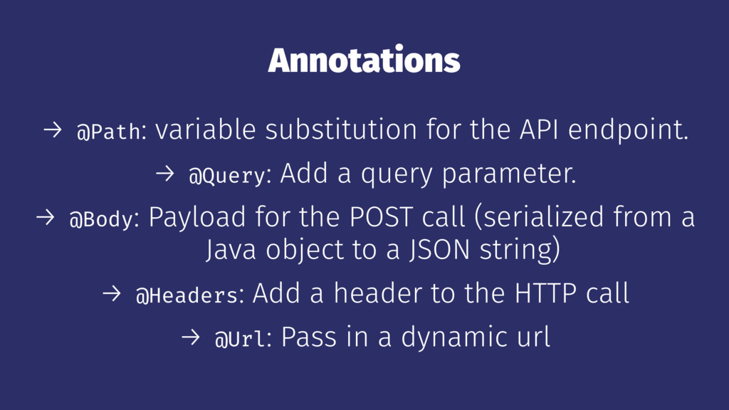 Annotations → @Path: variable substitution for ...