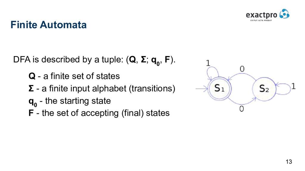 Finite Automata DFA is described by a tuple: (Q...